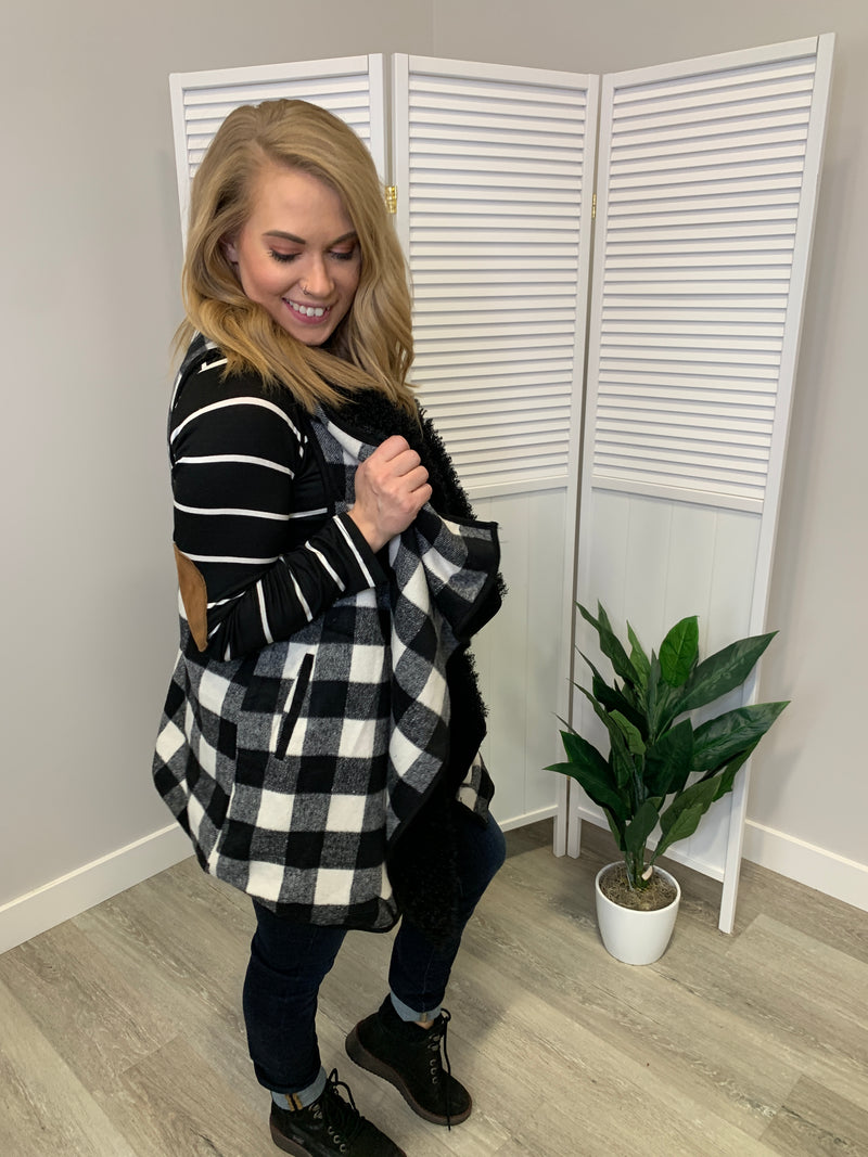 Ainsley Ultra Soft Draped Vest | Black & White Plaid