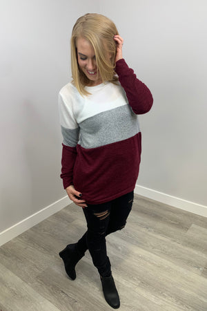 Colourblock Sweater - Burgundy
