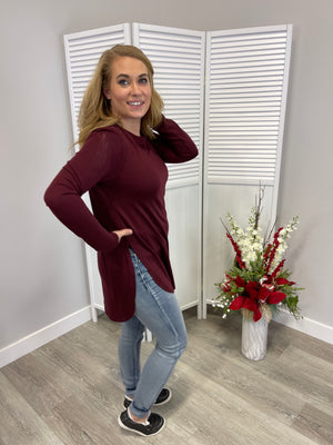 Yogi Flow Long Sleeve Top | Burgundy