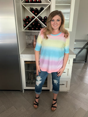 Stephanie Rainbow Thermal Tee