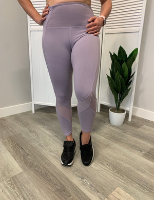 Deadlift Capri Leggings | Mesh Detail | Light Purple