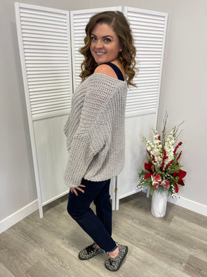 Hepburn Knit V Sweater | Grey