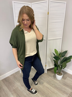 Smooth Vanilla Cardigan | Olive