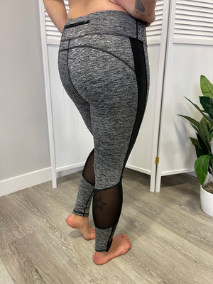 Plank Leggings | Mesh Detail | Marbled Grey
