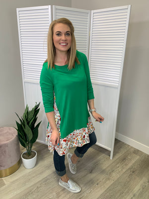 Phoebe Floral Peekaboo Top - Kelly Green