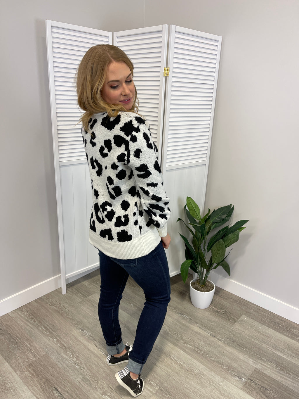 *FINAL SALE* Arden Leopard Knit Sweater | Ivory