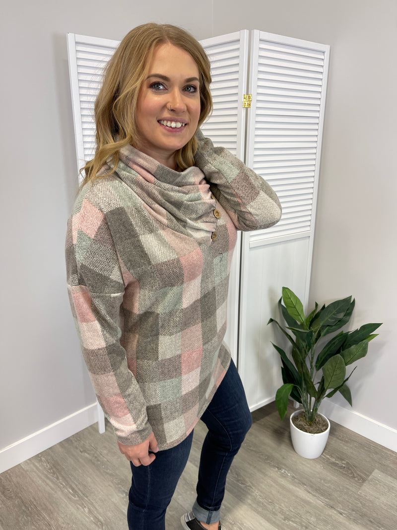*NEW* Pick A Penny Cowl Neck Top | Taupe
