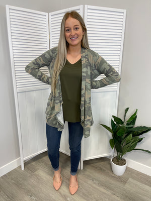 Sandra Draped Cardigan | Camo