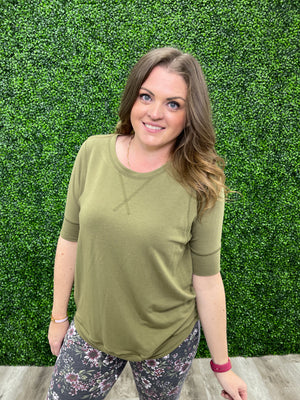 Melissa Short Sleeve Sweatshirt | NEW Olive