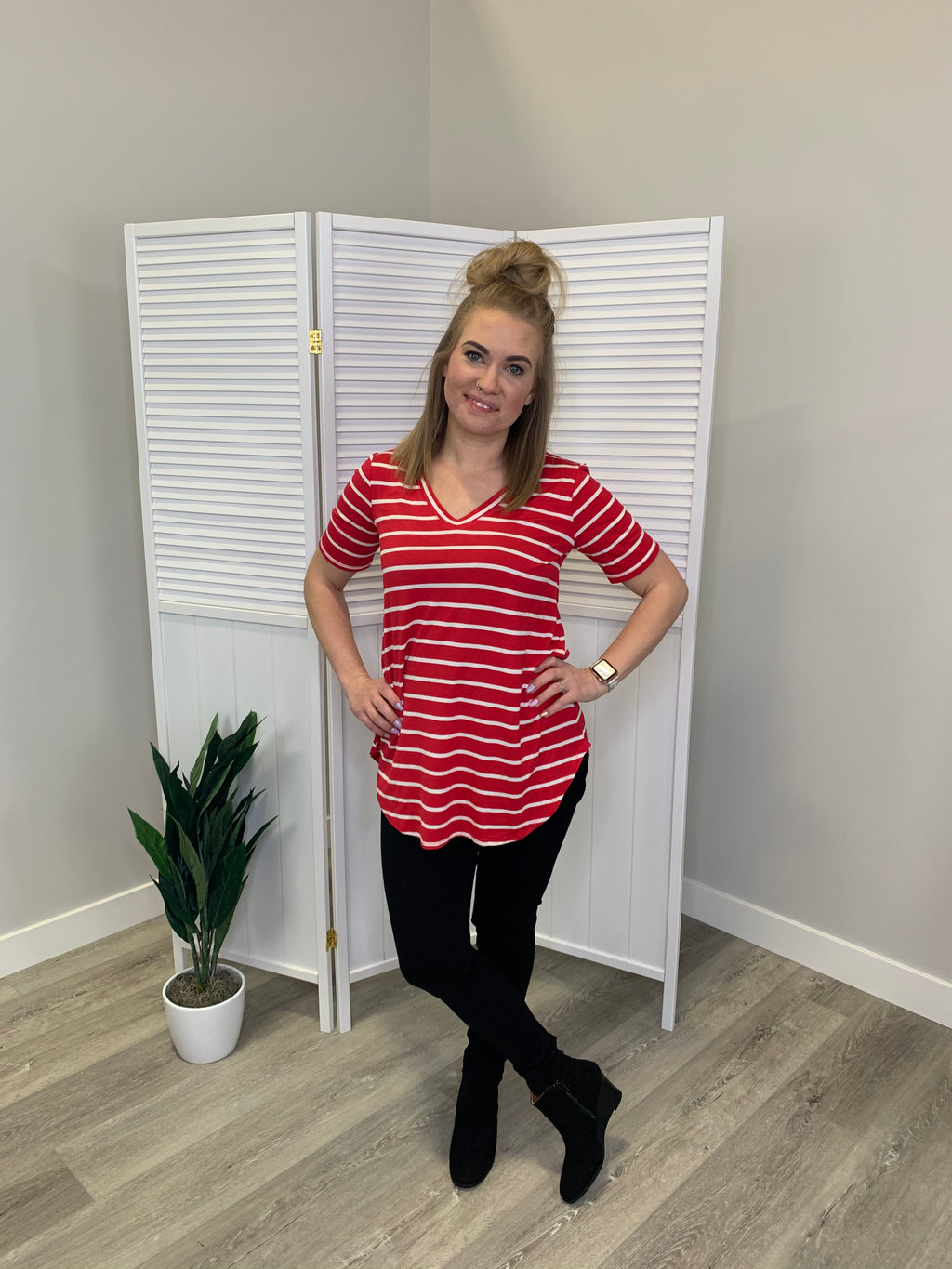 Monica Striped Tee - Ruby