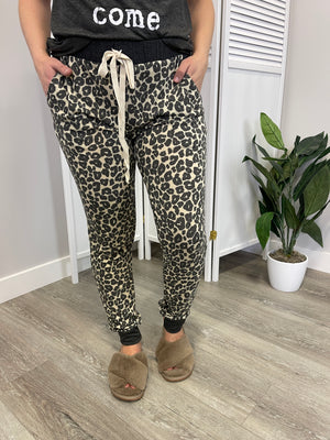 Cool Cat Leopard Joggers | Black