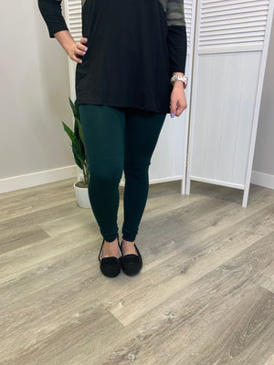 Fleece Lined Leggings - Hunter Green