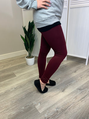 Fleece Lined Leggings - Dark Wine