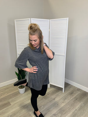 Loose Fit Cowl Neck - Light Grey