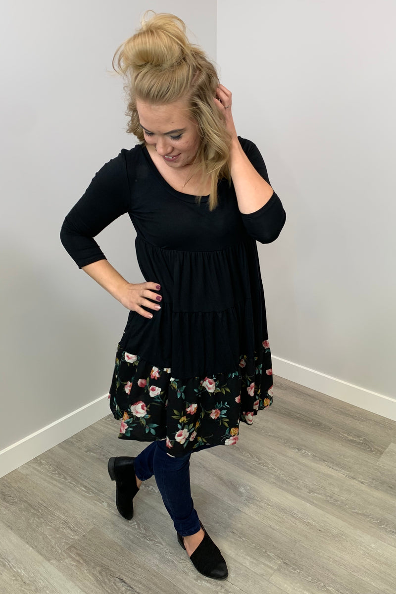 Floral Tiered Dress - Black