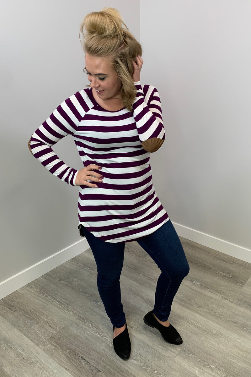 Striped Elbow Patch Top - Purple & White