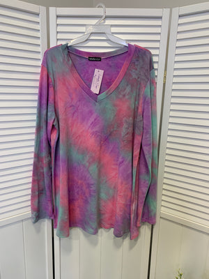 *FINAL SALE* Indiana Tie Dye Top | Mint & Purple