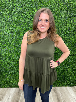 The Shauna Tiered Tank | Olive