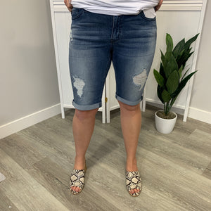KanCan Shorts | DISTRESSED Bermuda | Medium Wash