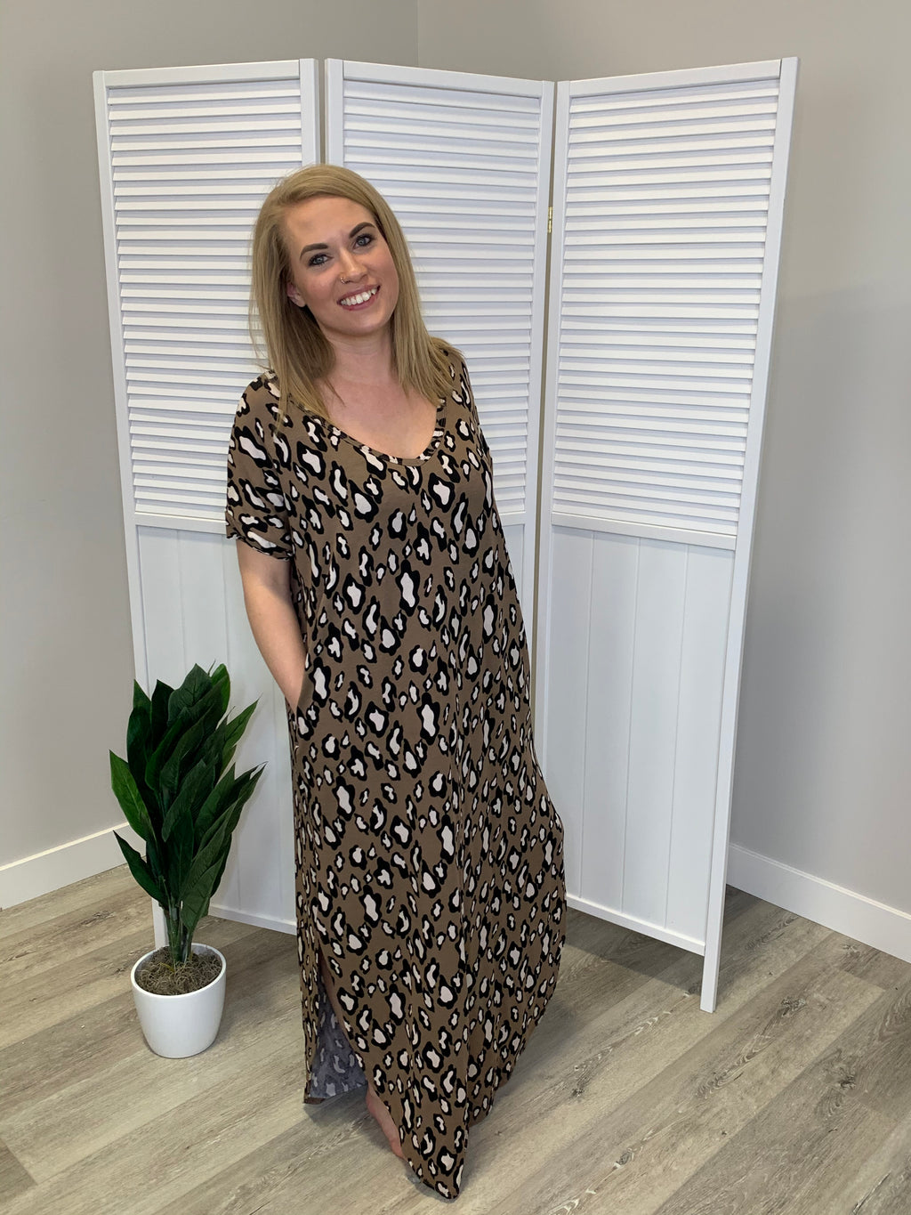 Safari Pocket Maxi Dress - Brown