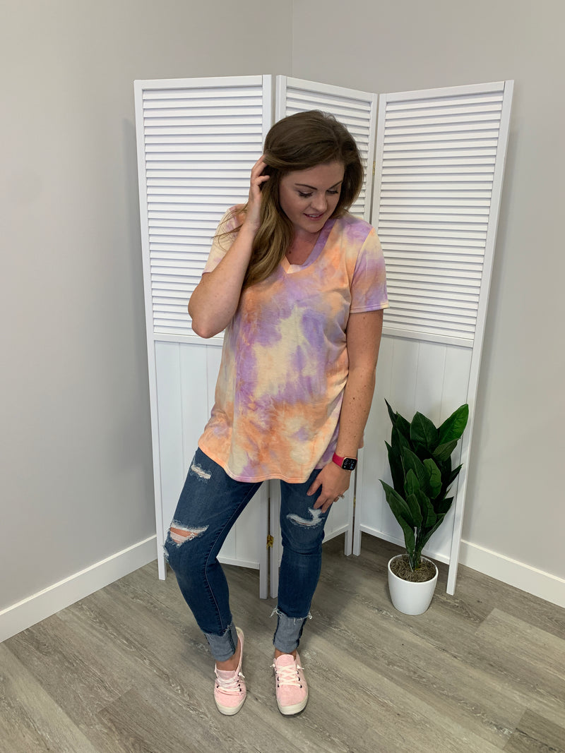 Missy Tie Dye Tee | Lilac & Orange