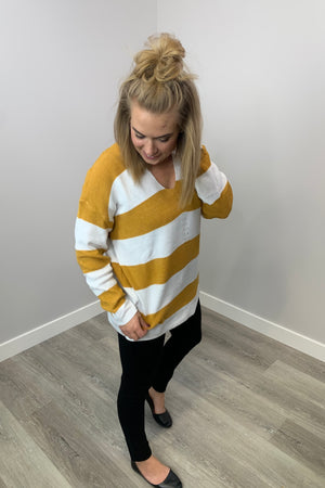 Mustard & White Colourblock Sweater