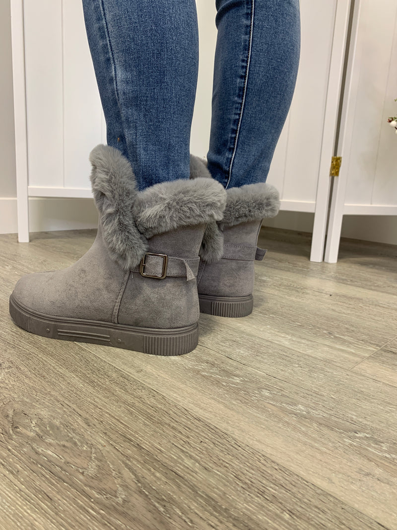 *FINAL SALE* The Collette Furry Boots | Grey