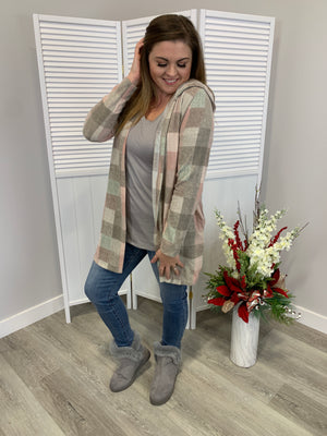 The Penny Plaid Cardigan | Taupe