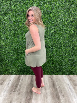 Day Trip Pocket Tunic | Tank Top | Light Olive