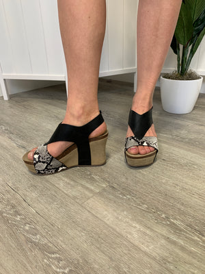Truce Wedge Sandals | Black Snake Print