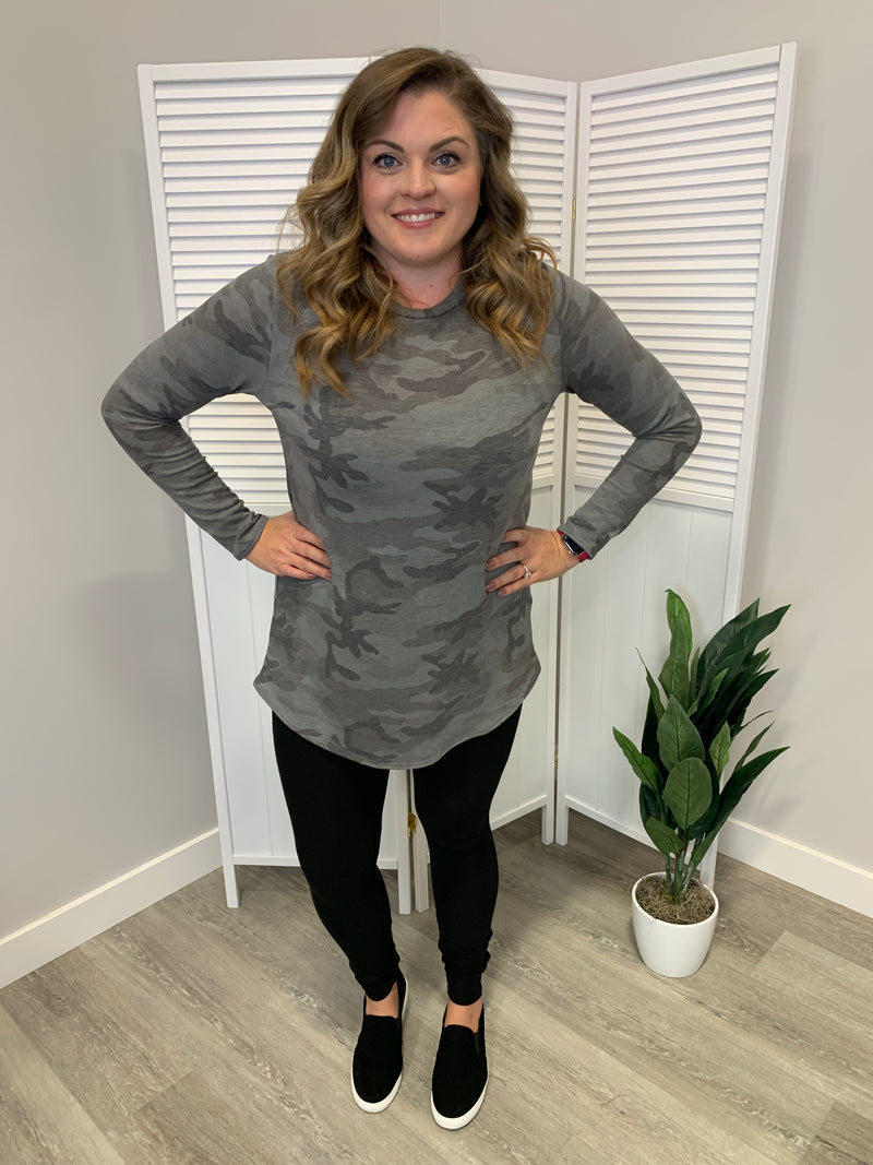 Camo Long Sleeve Tunic | Charcoal