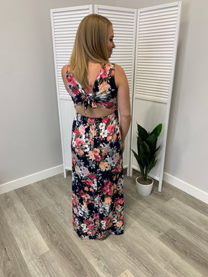Marianne Floral Maxi Dress | Tie Back | Navy