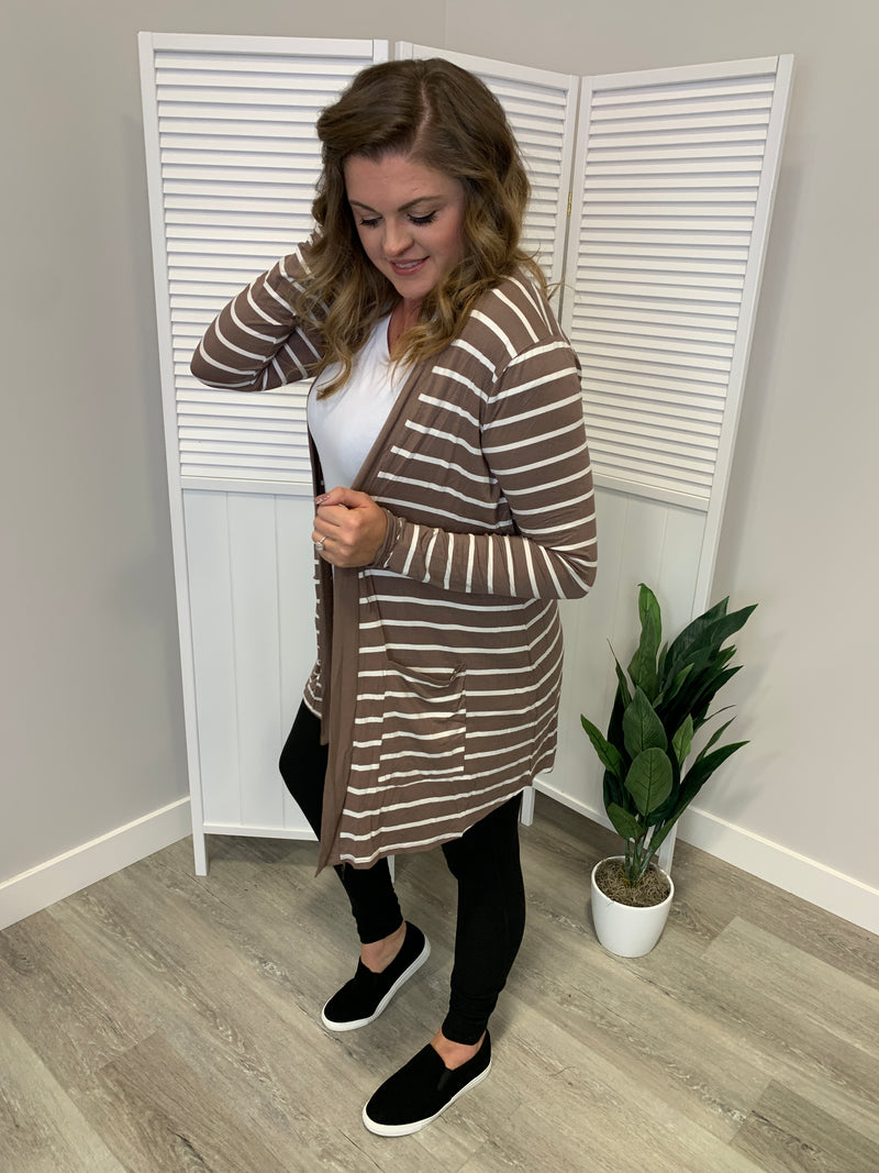Staple Pocket Cardigan | STRIPED | Mocha & Ivory