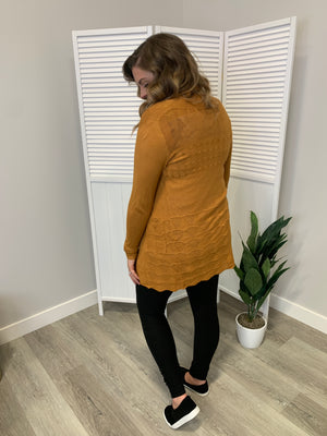 Pointelle Loose Knit Cardigan - Honey