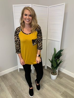 Logan Leopard 3/4 Sleeve Pocket Top | Mustard