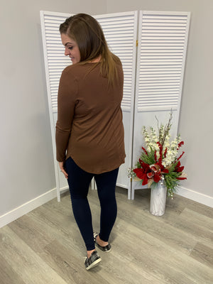 Everyday Long Sleeve Button Top | Light Brown