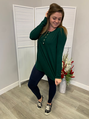 Everyday Long Sleeve Button Top | Hunter Green