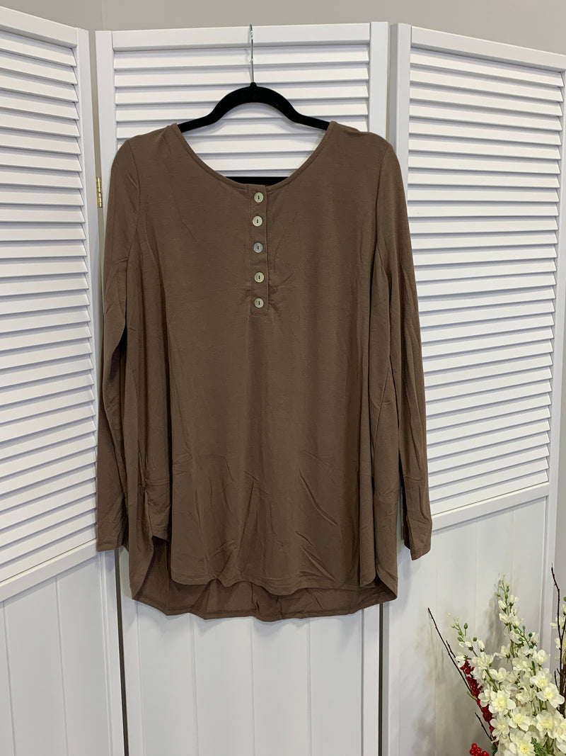 Everyday Long Sleeve Button Top | Mocha