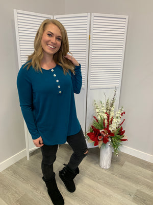 Everyday Long Sleeve Button Top | Teal
