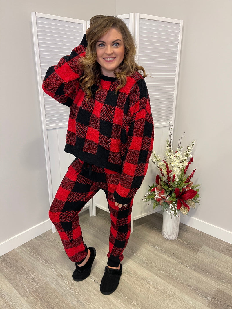*FINAL SALE* Christmas Morning Fluffy Knit TOP | Buffalo Plaid
