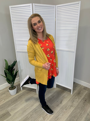 Dreamy Ribbed Pocket Cardigan - Mustard