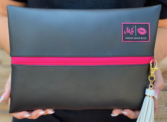 Makeup Junkie Bag - Jet Black (Hot Pink Zipper)