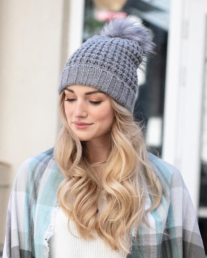 Grace & Lace Faux Fur Pom Hat - Heathered Grey