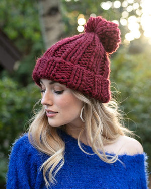 Grace & Lace Knit Pom Hat - Holly Berry