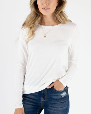 Grace & Lace | LONG Sleeve Perfect Crew Neck Tee | Ivory