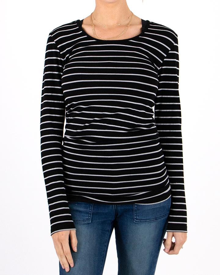 Grace & Lace Perfect Fit Top - Black & Grey Stripe