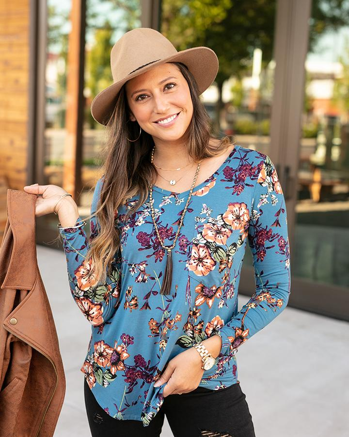 Grace & Lace | Long Sleeve Perfect Pocket Tee | Dusty Blue Floral