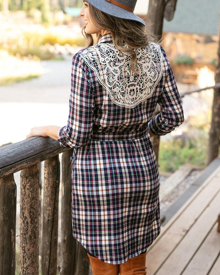 Grace & Lace | Stretch Flex Flannel Plaid Dress | Ivory Multi