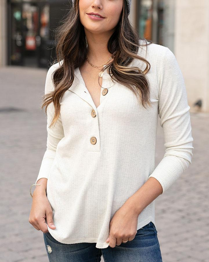 Grace & Lace | Large Button Layer Tee | Oatmeal