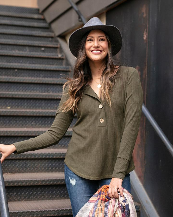 Grace & Lace | Large Button Layer Tee | Olive